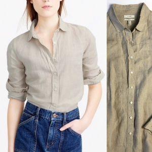 J Crew Perfect Linen Button Down Shirt